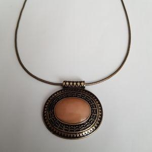 Vintage Peach Bead Pendant Necklace
